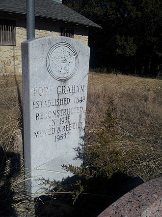 Fort Graham - Image: Fort Graham building moved and rebuilt marker