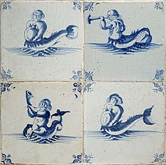 Four tiles with blue and white decor of tritons, with ossenkop corners