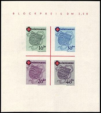 Fr. Zone Württemberg 1949 Block 1 B Rotes Kreuz.jpg