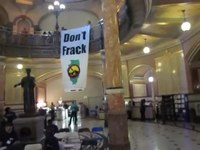 File:Fracking banner drop, state capitol of Illinois..webm