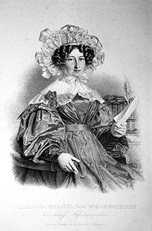 Johanna Franul von Weißenthurn, Lithographie von Andreas Staub, ca. 1835 (Quelle: Wikimedia)