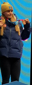Freestyle skiing at the 2020 Winter Youth Olympics – Girls' slopestyle podium Jennie-Lee Burmansson (cropped).jpg