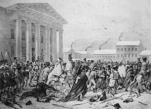 Vilnian National Guard - Retreating French army after unsuccessful invasion of Russia in 1812 at the Town Hall of Vilnius