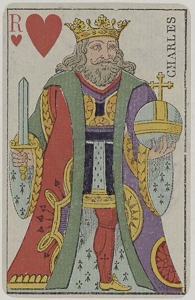 Plik:French Portrait card deck - 1850 - King of Hearts.jpg