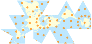 Dymaxion map - Map of the world in a Fuller projection with Tissot's Indicatrix of deformation