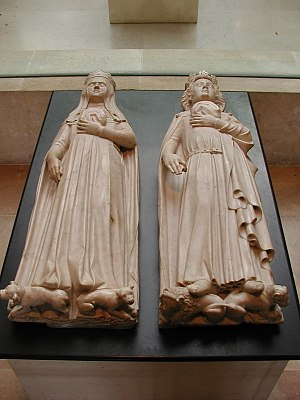 Tomb effigy - Gisants of Jeanne d'Évreux and Charles IV le Bel (1372) at Maubuisson Abbey, near Paris.
