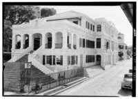 GENERAL VIEW OF NORTHWEST FACADE (LEFT) AND SOUTHWEST KING STREET FACADE (RIGHT) - Government House, King Street, Christiansted, St. Croix, VI HABS VI,1-CHRIS,34-15.tif