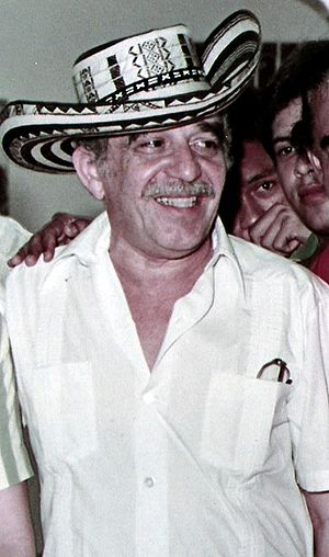 "Gabriel García Márquez - ""Gabo"" wearing a ""sombrero vueltiao"" hat, typical of the Colombian Caribbean region. Most of the stories by García Márquez revolve around the idiosyncrasy of this region."