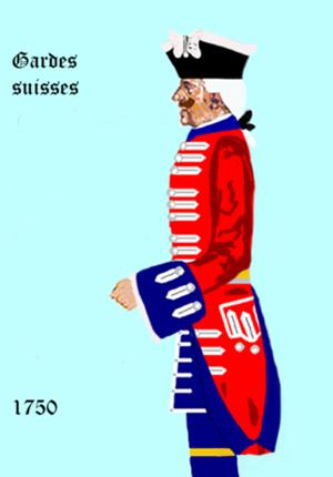 Maison militaire du roi de France - Image: Gardes suisses 1750
