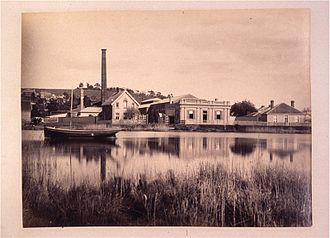 Launceston Gasworks - The gasworks from across the North Esk before the construction of the levee system