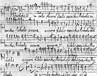 Christian Geist - Autograph score of Christian Geist's Quis hostis in coelis a 12, 1672