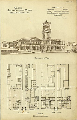 General Post Office, Brisbane - Architectural plans for the Brisbane GPO, 1872