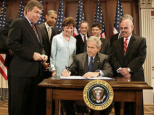 109th United States Congress - President George W. Bush signing the Federal Funding Accountability and Transparency Act of 2006 in the Eisenhower Executive Office Building, on September 26, 2006.