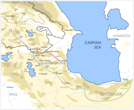 Eldiguzid campaign of Tamar of Georgia in 1208 and 1210-1211 years. Georgian invasion of northern Iran.png