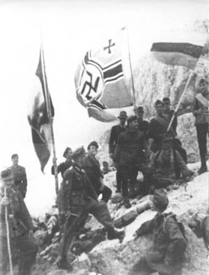 German, Italian and Bulgarian flags on Durmitor 1943.jpg