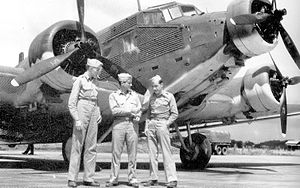 Latin America during World War II - A German Junkers Ju 52/3m, which was confiscated by Peru and transferred to the United States Army Air Forces as a war prize, at Howard Field, Panama, in late 1942.