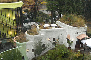 Exterior top view of Studio Ghibli, showing the rooftop garden designed by the brother of Hayao Miyazaki.