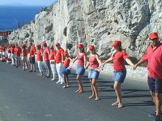 Gibraltarians - Gibraltarians encircle The Rock during the tercentenary of British Gibraltar, 4 August 2004.