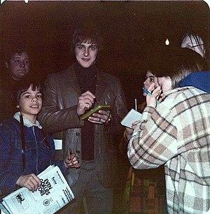 Gilles Gilbert - Gilles Gilbert signs autographs for fans at Boston Garden on April 1, 1975.
