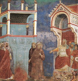 Custody of the Holy Land - Saint Francis before Sultan Al-Kamil of Egypt, witnessing the trial by fire (wall fresco, Giotto)