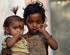 Girls in Mara village, Morena district, India.jpg