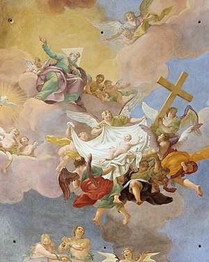 Last Adam - Glory of the Newborn Christ in Presence of God the Father and the Holy Spirit. Detail of a ceiling painting by Daniel Gran in St. Anne's Church, Vienna. Adam and Eve are portrayed below, in chains.