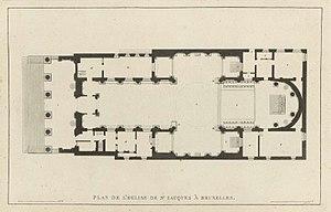 Saint Jacques-sur-Coudenberg - Floor plan of the church, from Pierre-Jacques Goetghebuer (1827), Choix des Monuments.