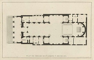 Saint Jacques-sur-Coudenberg - Floor plan of the church, from Pierre-Jacques Goetghebuer (1827), Choix des Monuments