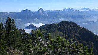 Schwyz Alps - View from Rigi Hochflue towards the Mythen and Glärnisch