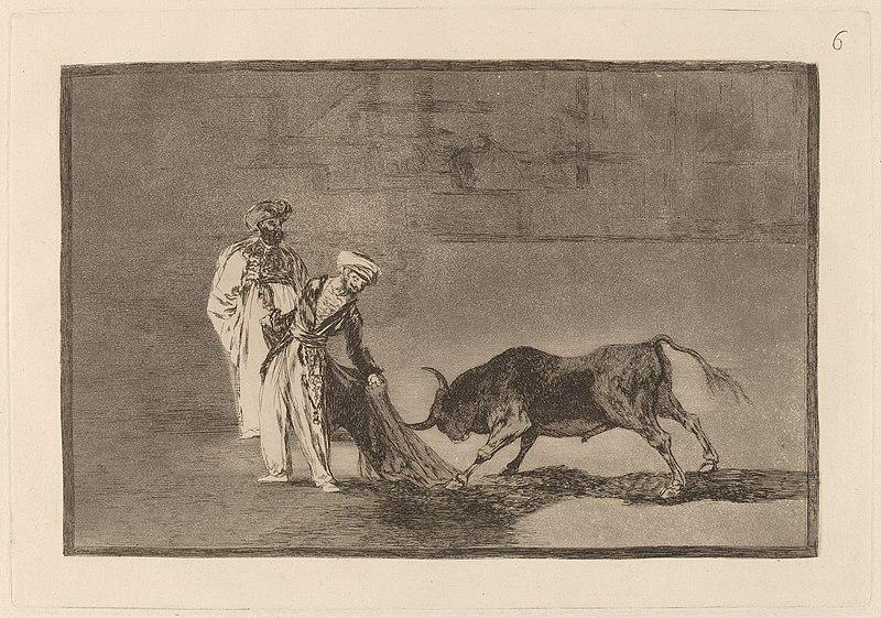 File:Goya - Los Moros hacen otro capeo en plaza con su albornoz.jpg