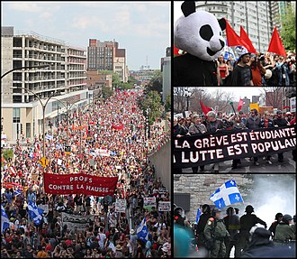 2012 Quebec student protests - July 22 (left), May 22 (up) and April 15 (center) demonstrations and Victoriaville riots (down).