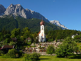 View of Grainau's church with the Zugspitze behind
