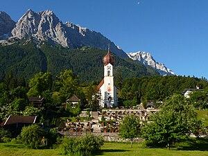 Grainau - View of Grainau's church with the Zugspitze behind