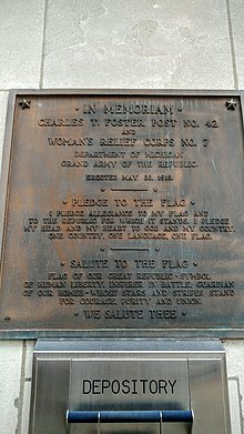 A plaque  dated       listing the Balch Pledge  which was used parallel to the Bellamy Pledge until the National Flag Conference in