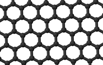 Coordination number - A graphite layer, carbon atoms and C–C bonds shown in black.