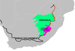 A map of South Africa showing the central plateau edged by the Great Escarpment and its relationship to the Highveld and Lesotho Highlands. The portion of the Great Escarpment shown in red is officially known as the Drakensberg, although most South Africans think of the Drakensberg as only that portion of the Escarpment which forms the border between KwaZulu-Natal and Lesotho. Here the Escarpment rises to its greatest height of over 3000 m.