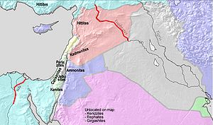 Criticism of the Bible - Map showing the borders of the Promised Land, based on God's promise to Abraham in Genesis 15:18-21: In the same day the LORD made a covenant with Abram, saying, Unto thy seed have I given this land, from the river of Egypt unto the great river, the river Euphrates:The Kenites, and the Kenizzites, and the Kadmonites, And the Hittites, and the Perizzites, and the Rephaims, And the Amorites, and the Canaanites, and the Girgashites, and the Jebusites.