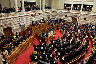 Hellenic Parliament - The Plenum in session for the 2009 swearing-in ceremony of the new members that emerged from the October 4 general election