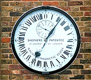 The Shepherd gate clock with Roman numbers up to XXIII (and 0), in Greenwich