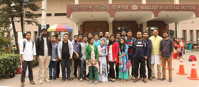 Group Photo of Bangla Wikipedia edit-a-thon at Bangladesh National Museum.jpg