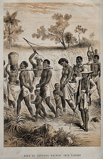 Atlantic slave trade - Group of men, children, and women being taken to a slave market