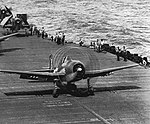 Grumman F6F-5 Hellcat takes off from USS Hancock (CV-19), circa in 1944.jpg