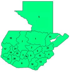 Peta pembagian administratif Guatemala