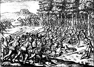 Captaincy General of Chile - Illustration of the Arauco War in Jerónimo de Vivar's book Crónica y relación copiosa y verdadera de los reynos de Chile (1558).