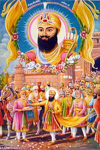 Guru Hargobind is released from Gwalior Fort by Jahangir's order.jpg