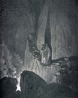 Dante climbs the flinty steps in bolgia seven in the Eighth Circle of Hell, Inferno, Canto 26.