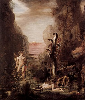Polycephaly - Heracles and the Lernaean Hydra by Gustave Moreau: The Hydra is perhaps the best known mythological multi-headed animal, also popularised in many fantasy settings.