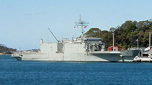 HMAS Manoora (L 52) - Manoora docked at Fleet Base East in October 2001