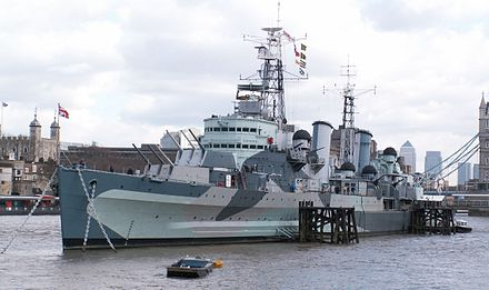"HMS Belfast as she is today. She carries 12 x 6-inch guns and displaced 11,553 tons - ""light"" in World War II referred to gun size, not displacement. HMS Belfast 1 db.jpg"