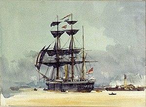 HMS Calypso (1883) - HMS Calypso in 1897, by W L Wyllie